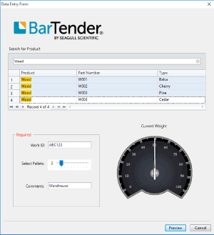 Barcode Form Screen with Weigh Scale